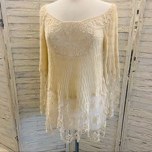 Free People Crochet trim sheer tunic blouse